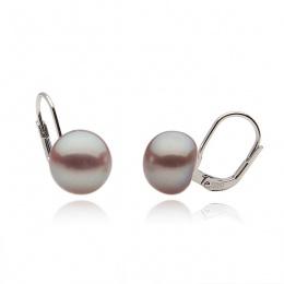 Edna - Сребърни обеци с лилава Перла АА 9.5 - 10 мм 10633L