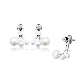 Pilar - Сребърни обеци с Перли и Циркони АА 3/4 - 5/6.5 мм 14071