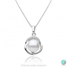 Lory - Сребърна висулка с Перла и Циркони АА 10 мм 16043