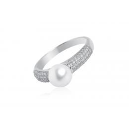 Kimiko - Сребърен пръстен с бяла Перла и Циркони АА 8.5 - 9 мм SK18220R
