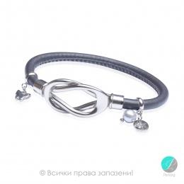 Malakris - кожена гривна със стомана и перли ST183-6B