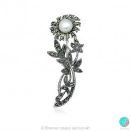 Lidia - Сребърна брошка Цвете с Перла и Марказит А 10 мм 555655452