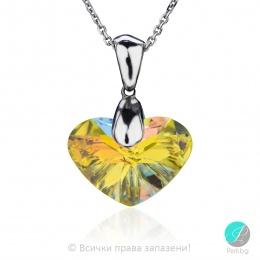 Bernarde - Сребърно колие сърце с кристали Swarovski Aurora Borealis 17 мм 62601239