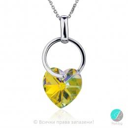 Elodie - Сребърно колие сърце с кристал Сваровски Aurora Borealis 14 мм 620253301