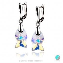 Danielle - Сребърни обеци с кристал Сваровски Aurora Borealis 18 мм 67271221