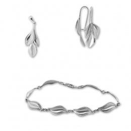 Di  - Сребърен комплект от три части без Камък - Висулка, Обеци и Гривна 8000624