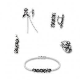 Breann - Сребърен комплект от пет части с Цирконий - Висулка, Обеци, Гривна и Пръстен 8000057