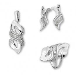 Deacon - Сребърен комплект от три части с Цирконий - Висулка, Обеци и Пръстен 8000061