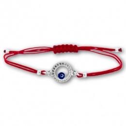 Lydie - Сребърна гривна с червен конец Окото на Назар - Шамбала s81517-Сребърни бижута