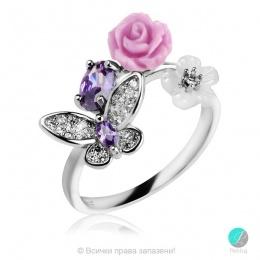 Kamelia baby  - Сребърен пръстен с Циркони 1309A