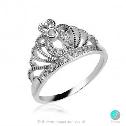 Crown 3 - Сребърен пръстен Корона с Циркони 13500A