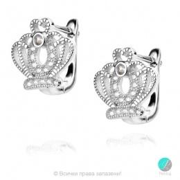Crown 4 - Сребърни обеци Корона с Циркони 1351A2