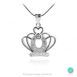 Crown 4 - Сребърна висулка Корона с Циркони 1352A2
