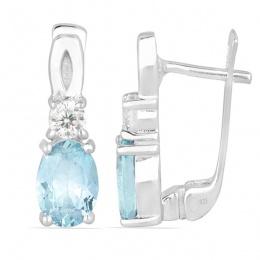 Alivia deep Aquamarine - Сребърни обеци с естествен Аквамарин 1.3 ct. E012108AQ
