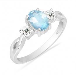 Alivia deep Aquamarine - Сребърен пръстен с естествен Аквамарин 0.65ct. R012108AQ