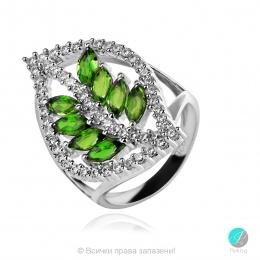 Joleen Chrome Diopsite - Сребърен пръстен с естествен Хром Диопсид 1.92 ct и Циркони R019981Ch