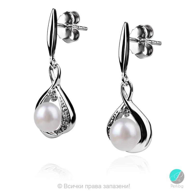 Lossinda - Сребърни обеци с Перли и Циркони АА 5 - 5.5 мм 14017-Обеци