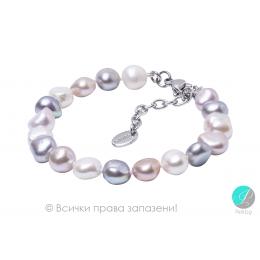 Viola - Перлена барокова гривна меланж А 8 - 9мм 184-62B-Гривни
