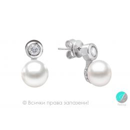 Aveline - Сребърни обеци с Перла и Циркон АА 7.5 - 8 мм SK18444E-Обеци