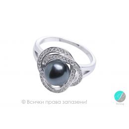 Margaux - Сребърен пръстен с Перла и Циркони АА 8.5 - 9 мм SK18447RB