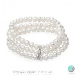Maia - Триредна перлена гривна АА 7-7.5 15289-Гривни