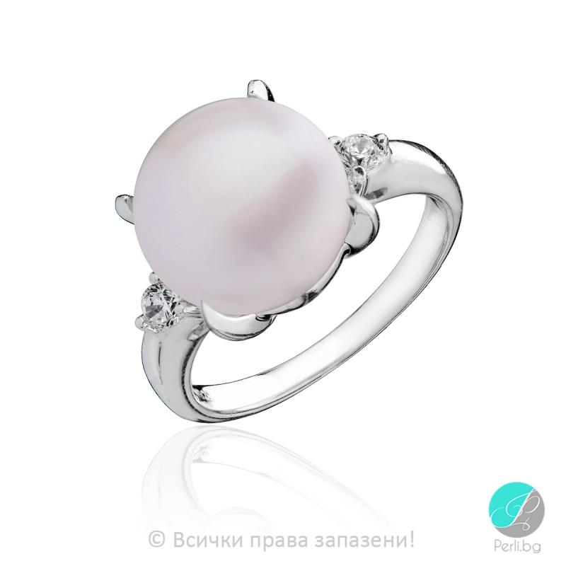 Amalea - Сребърен пръстен с Перла и Циркони ААА 11 мм 11723-Сребърни бижута