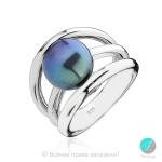 Miyako - Сребърен пръстен с тъмна перла ААА 11278Т-Пръстени