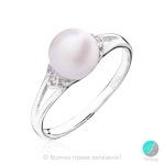 Adelais - Сребърен пръстен с Перла и Циркони AA 8мм 10452-Пръстени