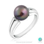 Efion - Сребърен пръстен с Перла и Циркони АА 8 - 8. 5 мм 11756T-Пръстени