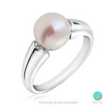 Efion - Сребърен пръстен с Перла и Циркони АА 8 - 8. 5 мм 11756-Пръстени