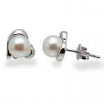 Vonnie -  Сребърни обеци Сърце с перла АА 6.5 мм 11697-Обеци