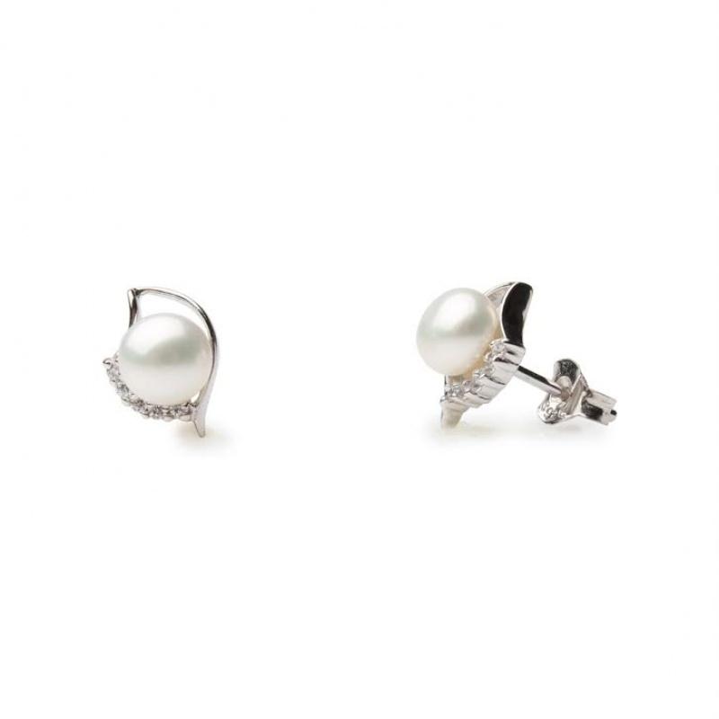Abbi - Сребърни обеци с Перла и Циркони А 6 - 6.5 мм 12355-Обеци
