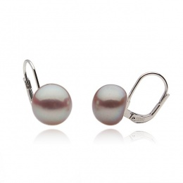 Edna - Сребърни обеци с лилава Перла АА 9.5 - 10 мм 10633L-Обеци