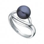 Liamy - Сребърен пръстен с тъмна Перла АА 8.5 - 9 мм 12360B-Пръстени
