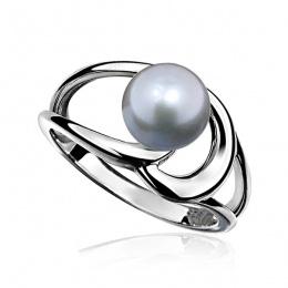 Eloisa - Сребърен пръстен със сива Перла АА 8 - 8.5 мм 14021S-Пръстени
