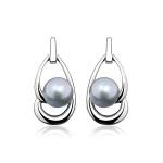 Eloisa - Сребърни обеци с Перла АА 6 - 6.5 мм 14023-Обеци