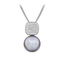 Etta - Сребърна висулка с Перла и Циркони АА 10 - 10.5 мм 14188