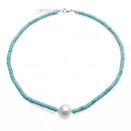 Turquoise  - Колие с Перла и Тюркоаз А 13 - 14 мм 15069