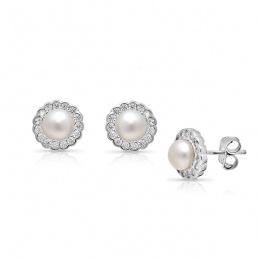 Sally 2 - Сребърни обеци с Перла и Циркони А 5 мм 16402