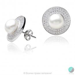 Kataliin - Сребърни обеци с Перли и Циркони АА 7.5 мм 16064-Обеци