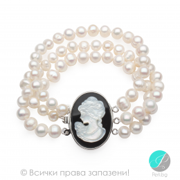Camea 2 - Перлена триредна гривна с медальон Камеа АА 8 - 8.5 мм 12938-Гривни