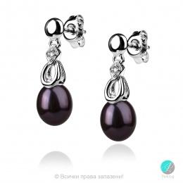 Selena - Сребърни обеци с Перла и Циркони АА 8 - 8.5 мм 11431-Обеци