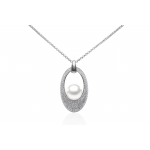 Kimiko - Сребърна висулка с Перла и Циркони АА 10-10.5мм SK18223P-Висулки