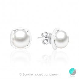 Gaby - Сребърни обеци с Перлa АА 9 - 9.5 мм SK18308E-Обеци