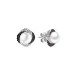 Fiorella - Сребърни обеци с Перла и Циркони AA 7.5 - 8 мм SK19110E-Обеци