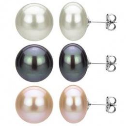 Reiko - Сребърни обеци с перла ААА 10 - 10.5 мм 52880-Обеци