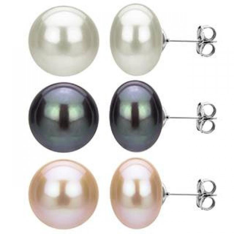 Reiko - Сребърни обеци с перла ААА 10 - 10.5 мм 52870-Обеци