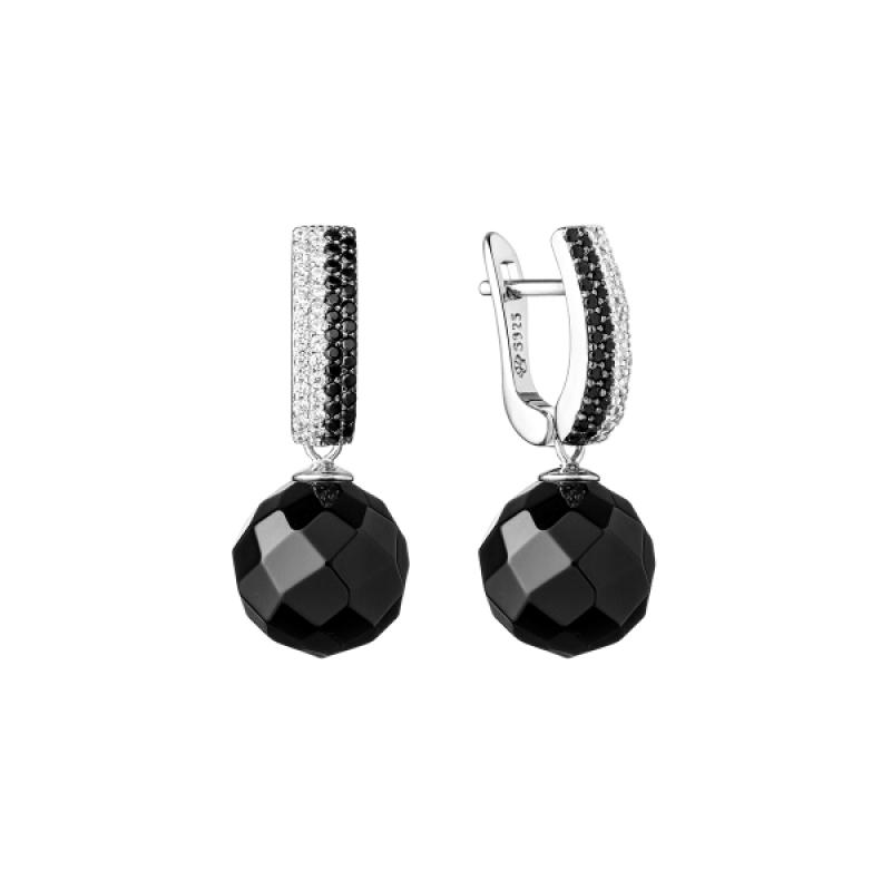 Zine - Сребърни обеци с Оникс и Цирконий SK20112EL-Естествени камъни