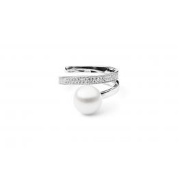 Allene - Сребърен пръстен с бяла Перла АА 9 - 10 мм и Цирконий SK20482RW-Пръстени