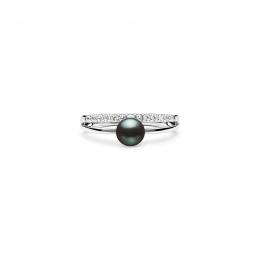 Beverly - Сребърен пръстен с тъмна Перла А 5.5 - 6 мм и Цирконий SK21103RB-Пръстени